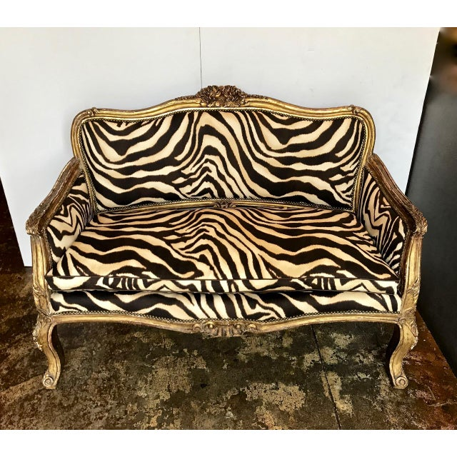 Carved Giltwood Small Sofa, 19th Century For Sale - Image 11 of 13