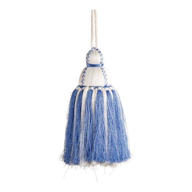 White & French Blue Tassel, Medium For Sale