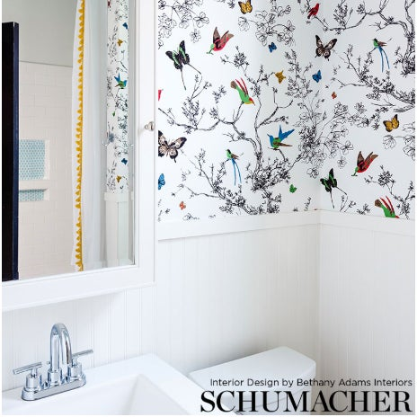 2010s Schumacher Birds & Butterflies Luxe Wallpaper in Multicolor on White - 2-Roll Set (10 Yards) For Sale - Image 5 of 6