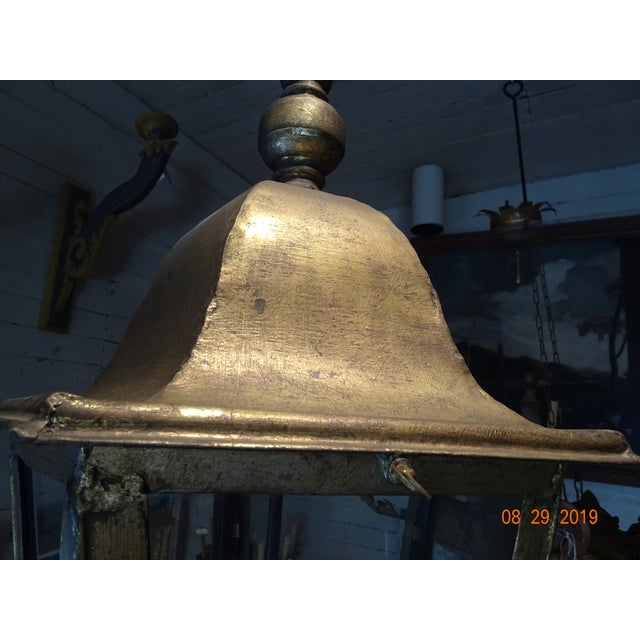 Metal New French Iron Gold Lantern For Sale - Image 7 of 13