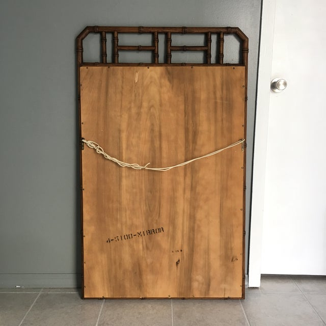 1960s Mid Century Faux Bamboo Wall Mirror For Sale - Image 5 of 6