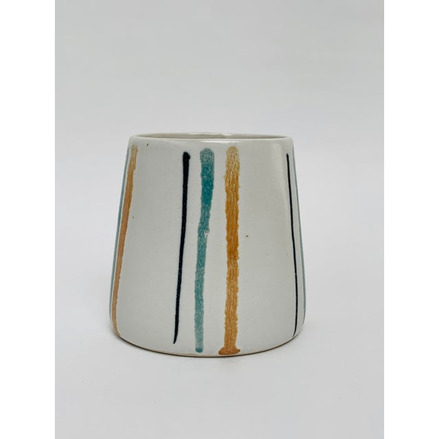 1960s Mid Century Modern Striped Oval Stoneware Mug From Bennington Potters For Sale - Image 12 of 13