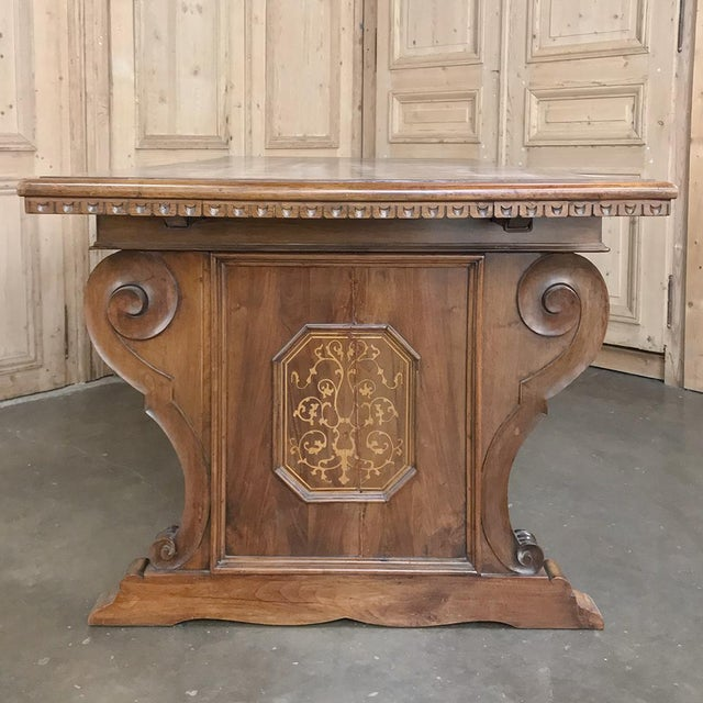 Antique Italian Baroque Inlaid Walnut Draw Leaf Dining Table For Sale - Image 9 of 13