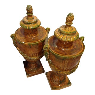 Italian Terra-Cotta/Glazed Large Urns - Pair For Sale