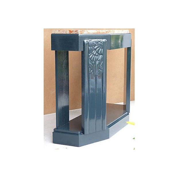 Art Deco Painted Wood Console with Marble Top - Image 4 of 8