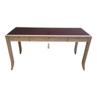 Custom Oak Ceruse Desk With Distressed Leather Top For Sale