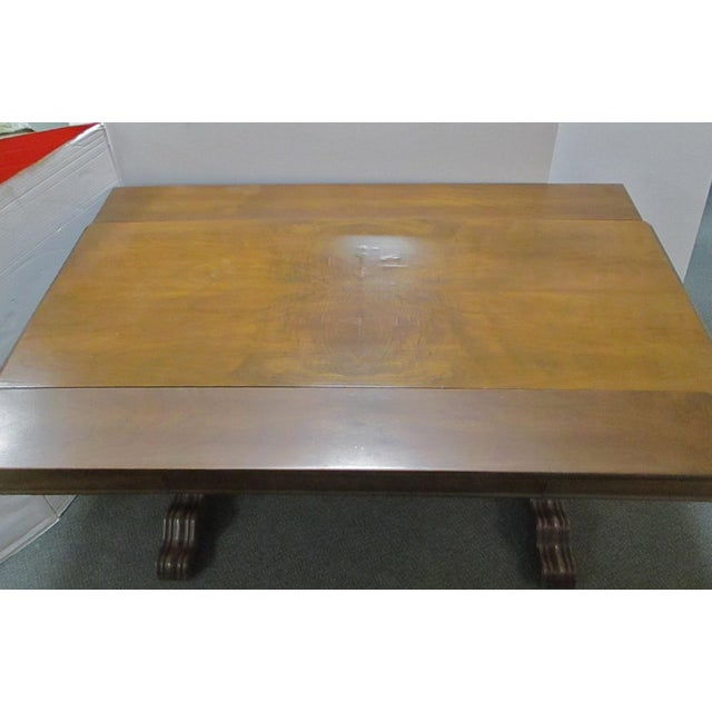 Expandable Walnut Library Table For Sale - Image 5 of 8