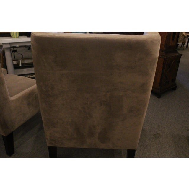 Textile Vintage Mid Century Plush Contemporary Wing Chairs- A Pair For Sale - Image 7 of 9