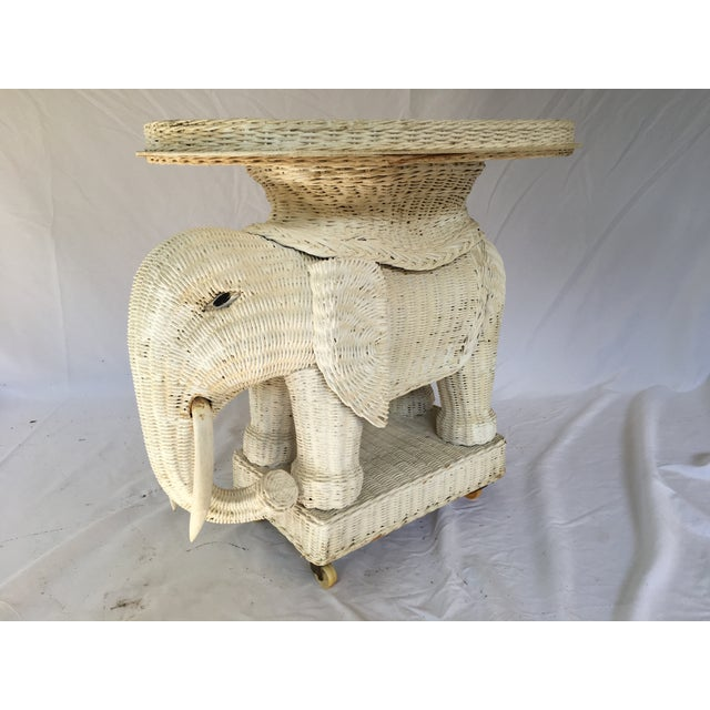 Mid 20th Century Vintage White Wicker Elephant Side Table With Mirrored Tray For Sale - Image 5 of 12