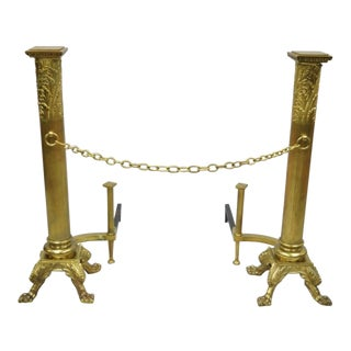 Late 19th Century Vintage Bronze French Empire Paw Foot Column Fireplace Andirons For Sale