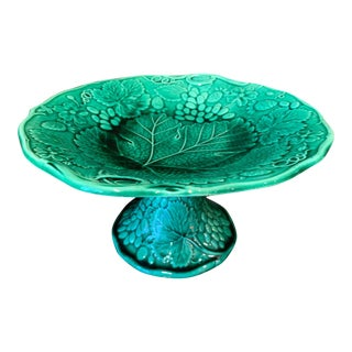 Antique English Majolica Green Tazza Serving Tray Cake Stand Cabbage Begonia For Sale