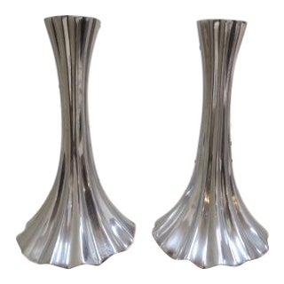 Vintage 1970s Mid-Century Modern Fluted Chrome Candle Holders - a Pair For Sale