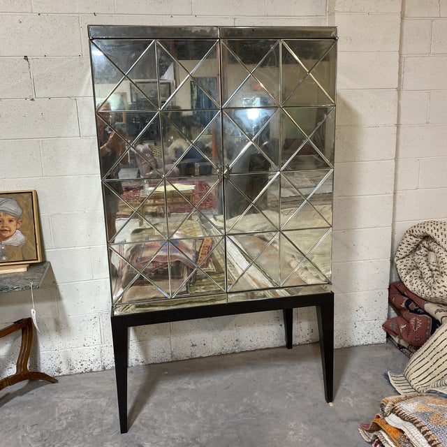 John-Richard Antiqued Mirror Bar Cabinet For Sale - Image 10 of 13