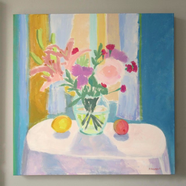Abstract Flowers, Lemon and Peach by Anne Carrozza Remick For Sale - Image 3 of 7