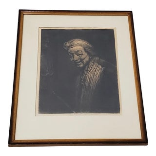 Rembrandt Self Portrait Engraving For Sale