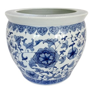 Blue and White Chinese Floral Planter
