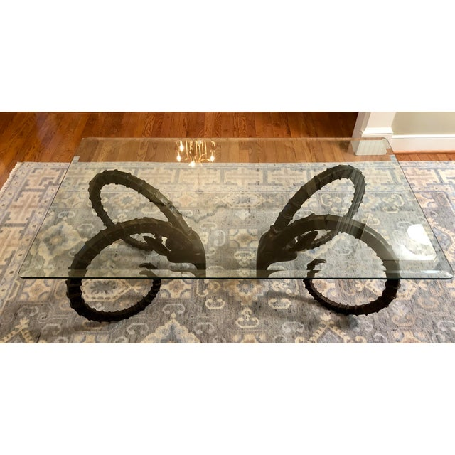 Hollywood Regency Ibex Ram Head Coffee Table Base - 2 Pieces For Sale In Richmond - Image 6 of 7