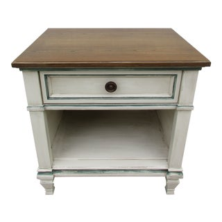 Heritage Nightstand -Off White and Blue For Sale
