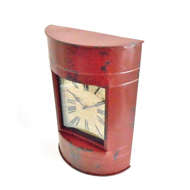 Industrial Vintage Metal Barrel Clock For Sale - Image 3 of 11
