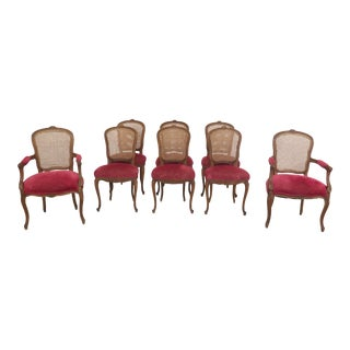 1900s Vintage French Louis XV Cane Back Dining Room Chairs- Set of 8 For Sale