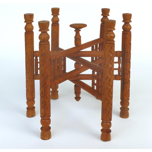 Boho Chic 20th Century Moroccan Brass Table Tray on Stand For Sale - Image 3 of 12