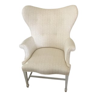 Vintage Chippendale White Linen Wingback Chair For Sale