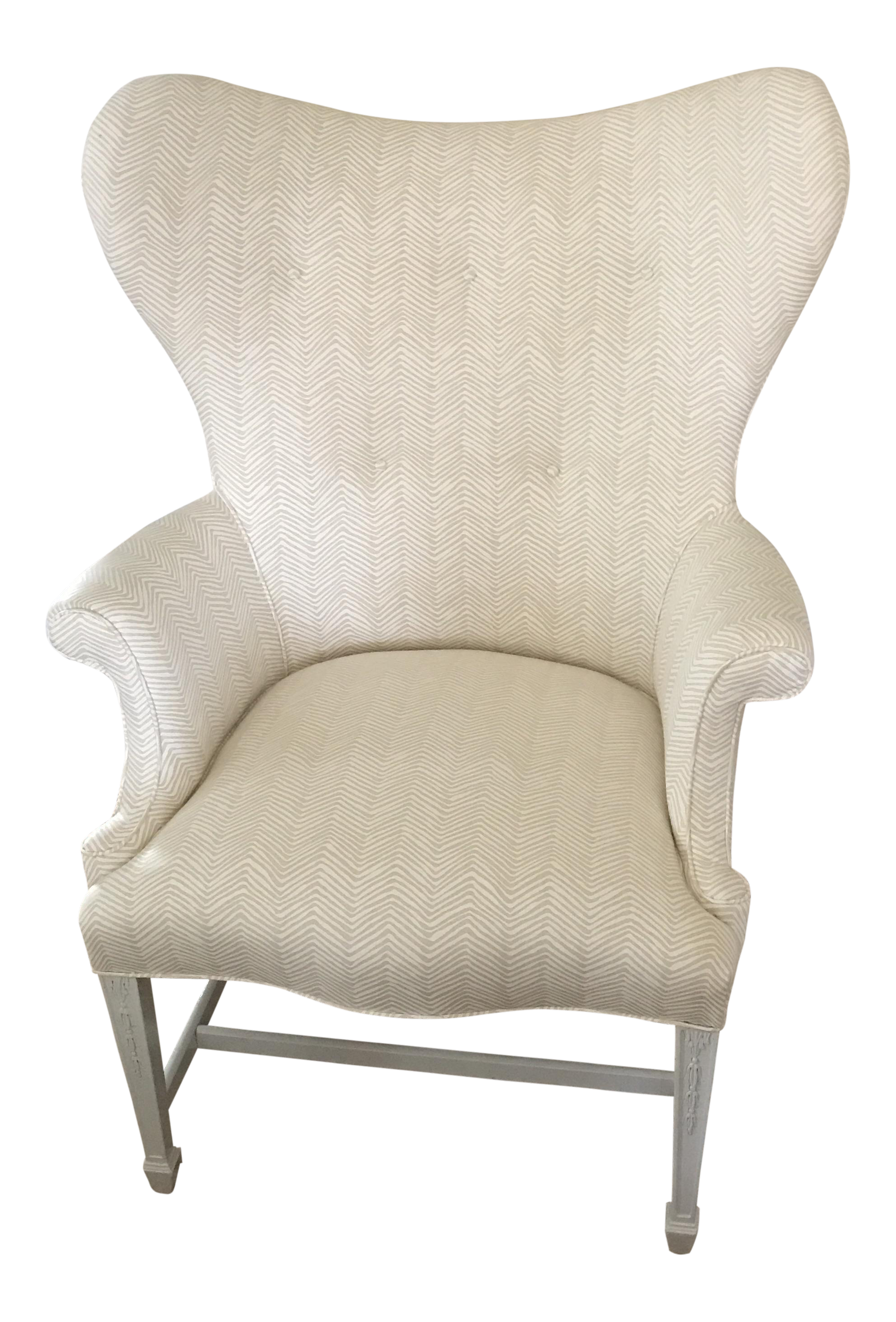 Vintage Chippendale White Linen Wingback Chair