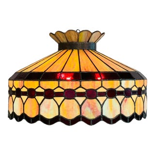 Mid 20th Century Tiffany Style Leaded Glass & Patinated Bronze Pendant or Chandelier For Sale