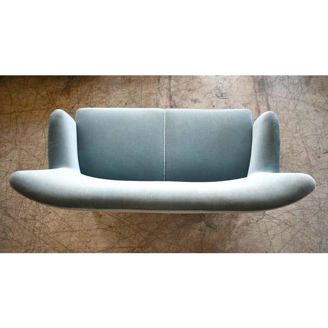 Teal Classic Frits Henningsen Style Settee or Loveseat Danish Midcentury For Sale - Image 8 of 10