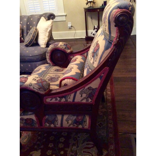 1800's Victorian Carved & Upholstered Armchair - Image 3 of 6