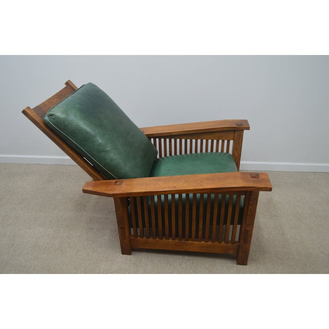 Wood Mission Stickley Oak Morris Chair W/ Ottoman - 2 Pieces For Sale - Image 7 of 13