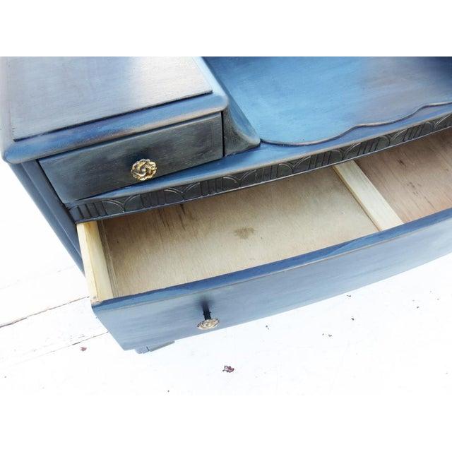 Vintage 1940's Dark Gray / Midnight Vanity Dresser & Mirror - Image 4 of 5