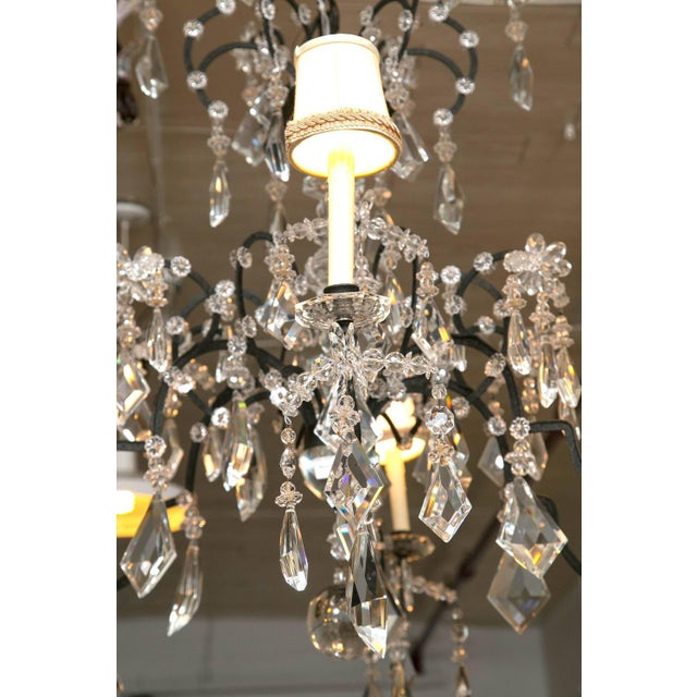 Holly Hunt Wrought Iron & Crystal Chandelier For Sale - Image 9 of 10