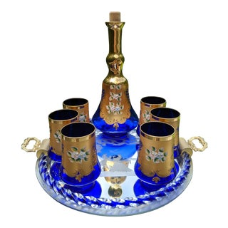 Murano Italian Glass Cordial Cobalt Blue W/24k Gold - 8 Piece Service Set W/Tray For Sale