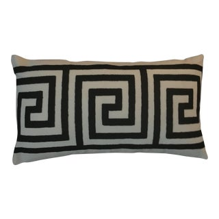 Greek Key Contemporary Embroidered Pillow For Sale