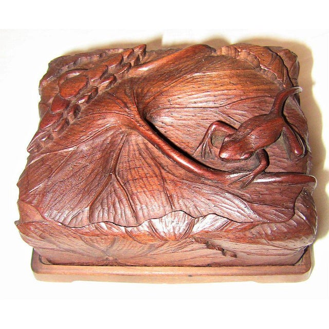 19c Japanese Carved Frog and Waterlily Wooden Box For Sale - Image 11 of 11