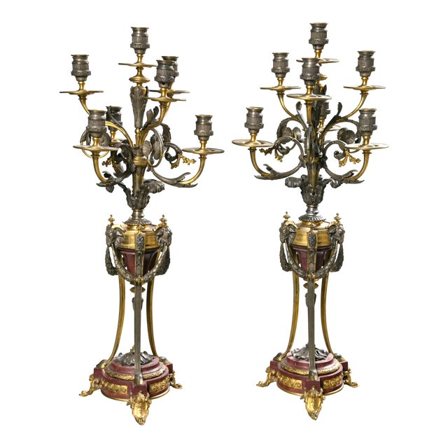 French Gothic Metal Candelabras - a Pair For Sale