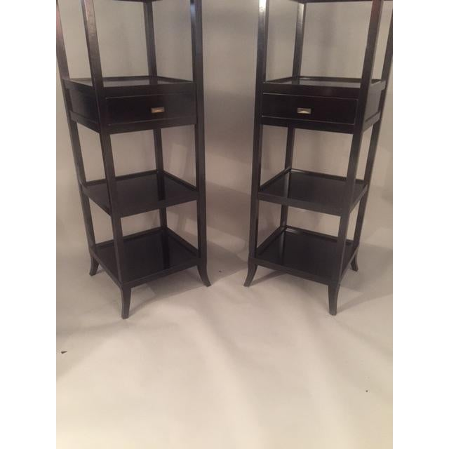 Black Contemporary Wood Black Lacquered Etagere Shelves - A Pair For Sale - Image 8 of 9