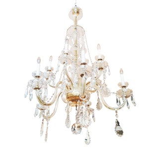 Large Italian Crystal Antique Chandelier For Sale