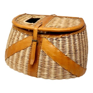 Vintage Leather and Wicker Fly Fishing Basket For Sale