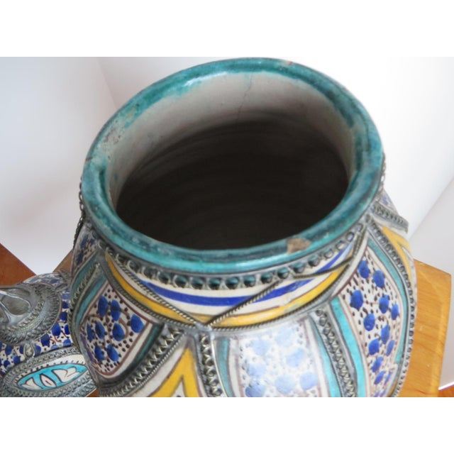 Antique Moroccan Jar with Filigree For Sale - Image 4 of 11