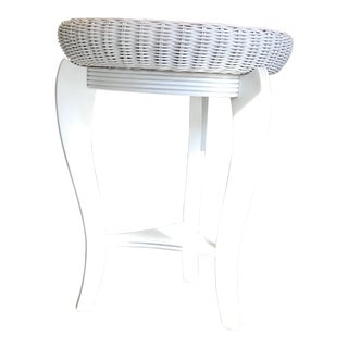 White Wood and Wicker Tray Table For Sale