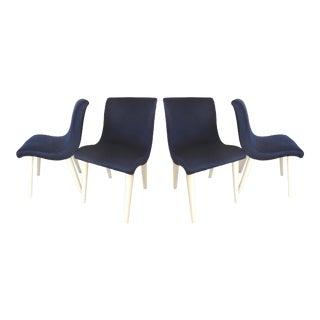 Vintage Mid-Century Blue Velvet SIde Chairs - Set of 4