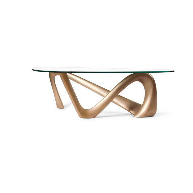 Contemporary Amorph Iris Coffee Table - Gold Finish For Sale - Image 3 of 9