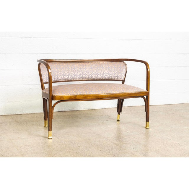 This antique Vienna Secessionist Gustav Siegel no. 715 for J. & J. Kohn settee bench is circa turn of the 20th century....