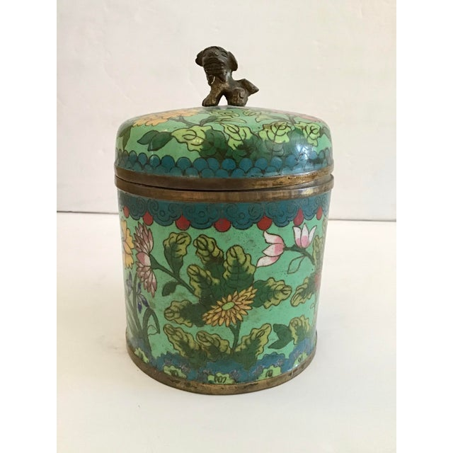 Unusual green color cloisonné covered jar.
