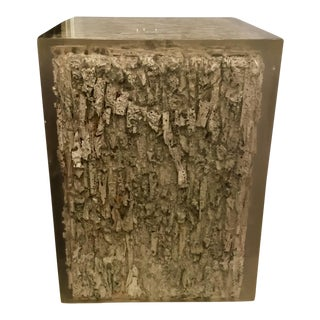 Organic Modern Textured Teak Resin Cube For Sale