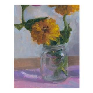 Yellow Zinnias Original Oil Painting For Sale