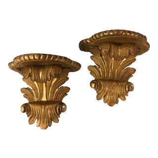 Vintage Gold Plaster Neoclassical Corbel Shelves - a Pair For Sale
