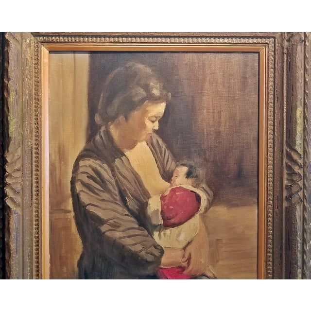 Hiyashi NoBuo Oil on Canvas - Nursing Mother For Sale - Image 4 of 7
